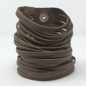 Jewelry - Full-grain cut leather slashed cuff bracelet